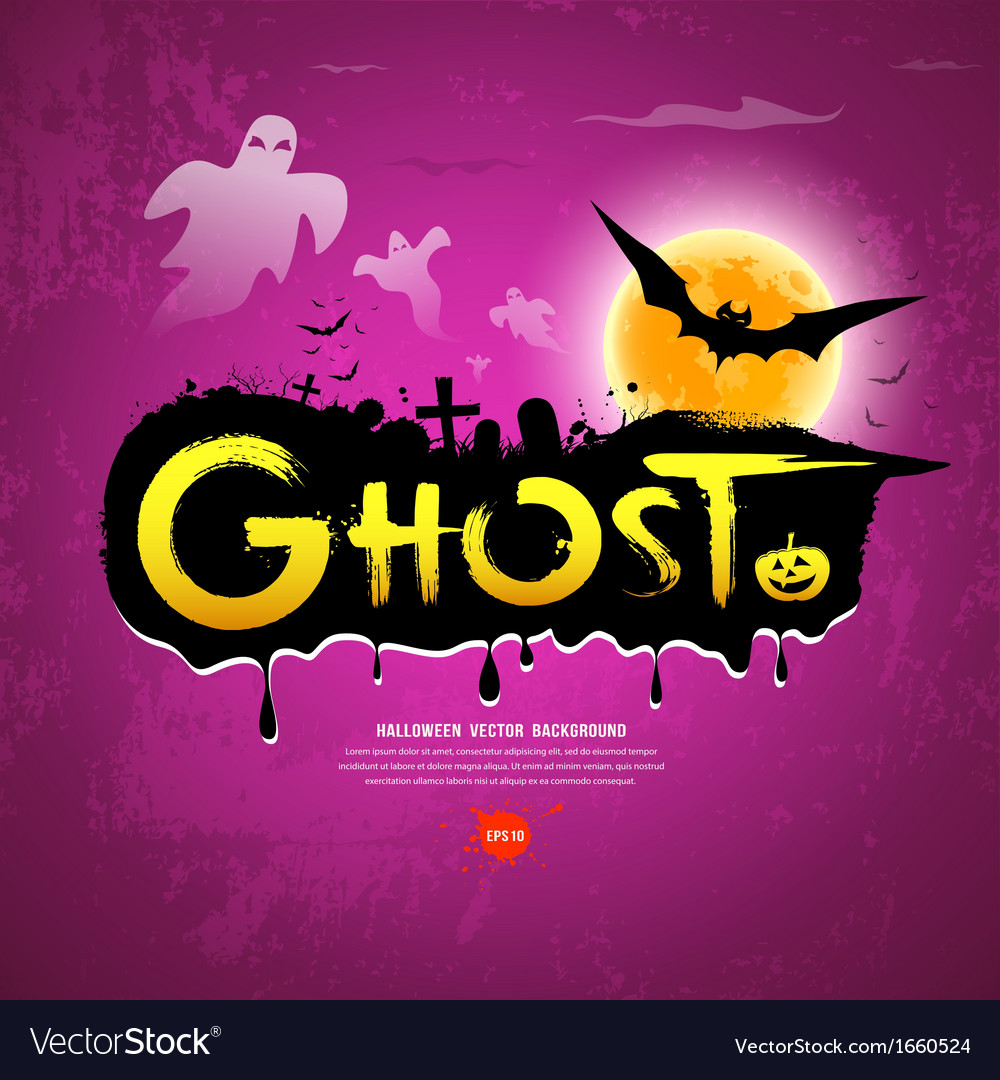 Halloween ghost message on purple background vector | Price: 1 Credit (USD $1)