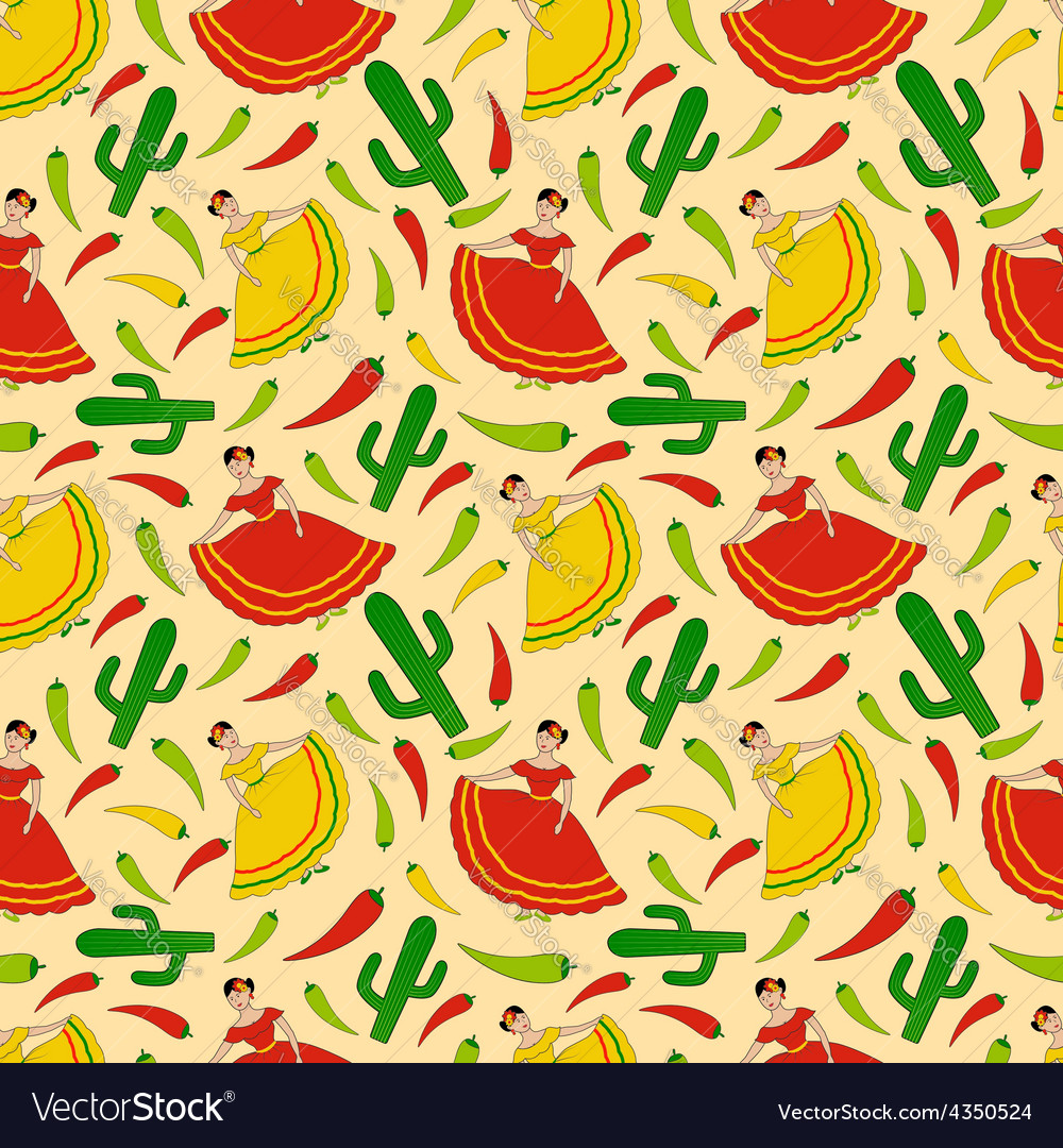 Mexican women pattern vector | Price: 1 Credit (USD $1)