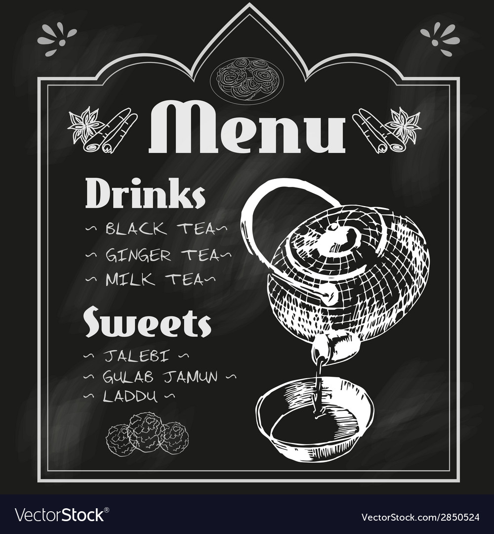 Teapot and teacup blackboard menu vector | Price: 1 Credit (USD $1)