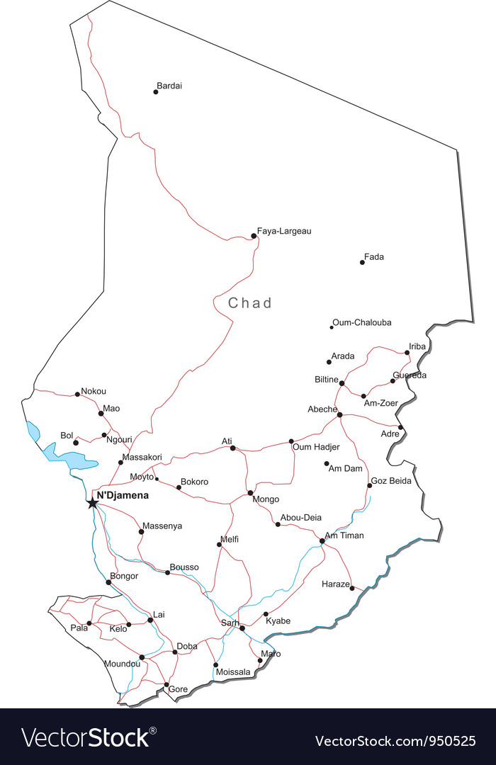 Chad black white map vector | Price: 1 Credit (USD $1)
