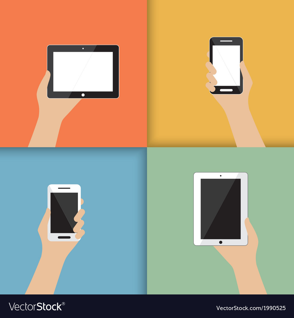 Devices in hand vector | Price: 1 Credit (USD $1)