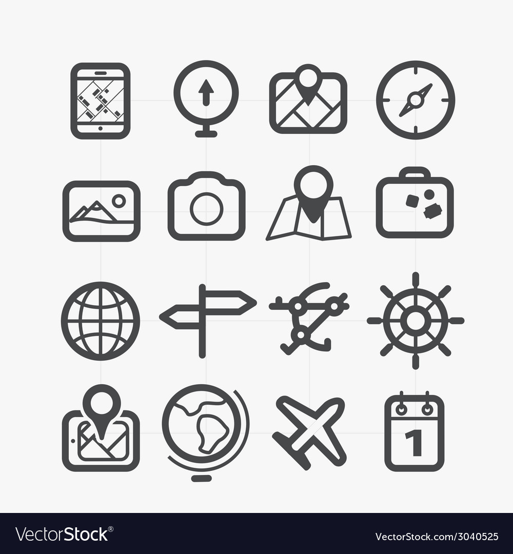 Different travel icons set with rounded corners vector | Price: 1 Credit (USD $1)