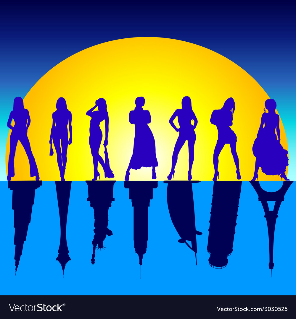 Girls and famous buildings vector | Price: 1 Credit (USD $1)