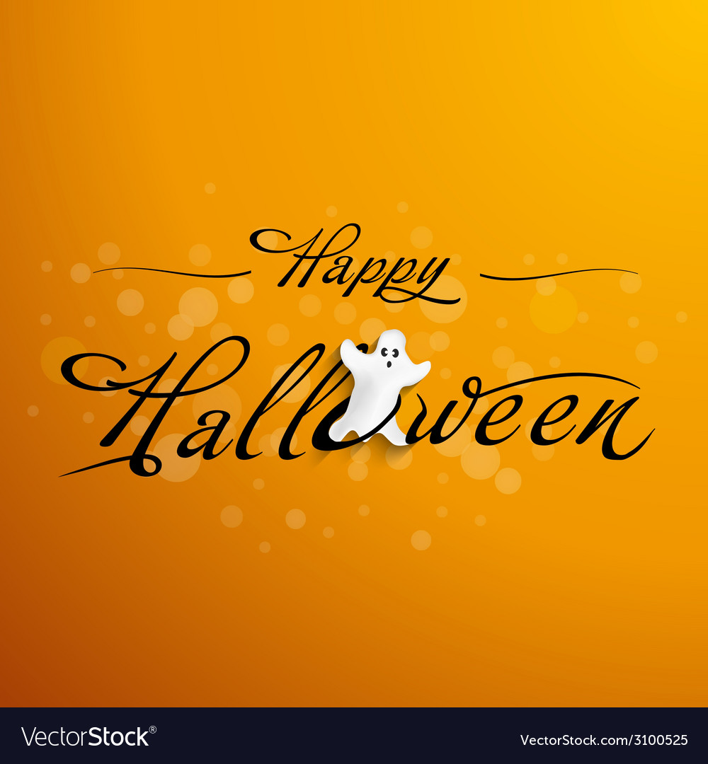 Halloween typography with funny ghost vector | Price: 1 Credit (USD $1)
