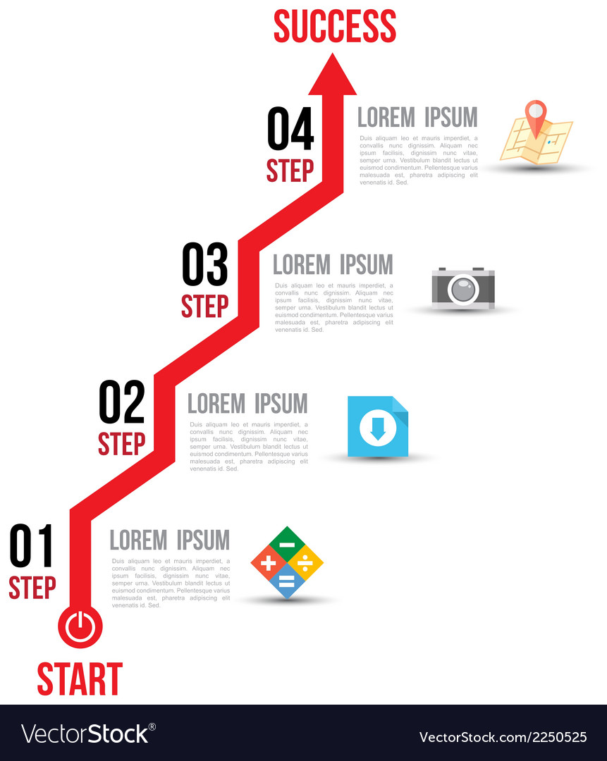 Infographic arrow diagram graph options with flat vector | Price: 1 Credit (USD $1)