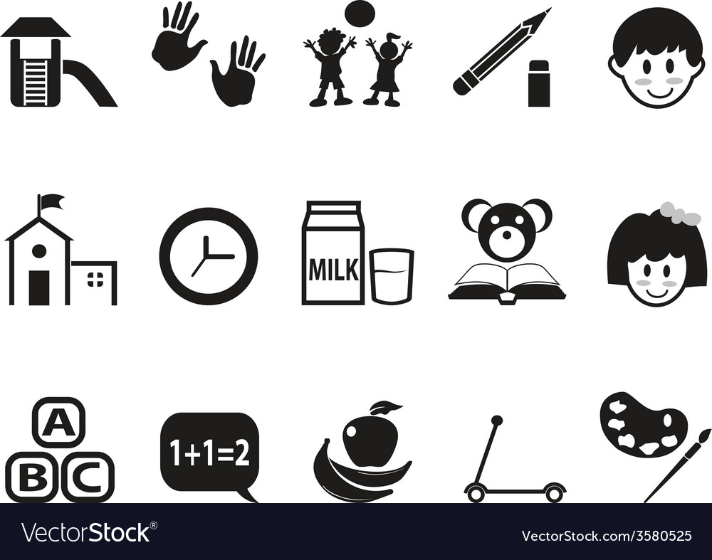 Preschool icons set vector