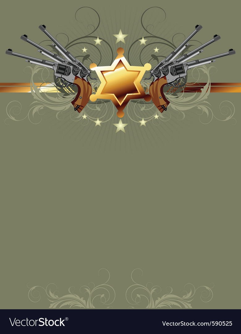 Sheriff star with guns vector | Price: 1 Credit (USD $1)
