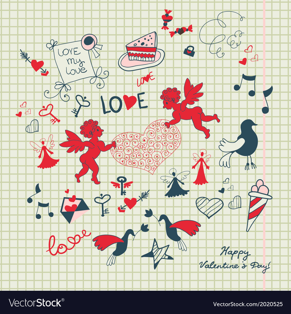 Valentines day scrapbook page with love sketch vector   Price: 1 Credit (USD $1)
