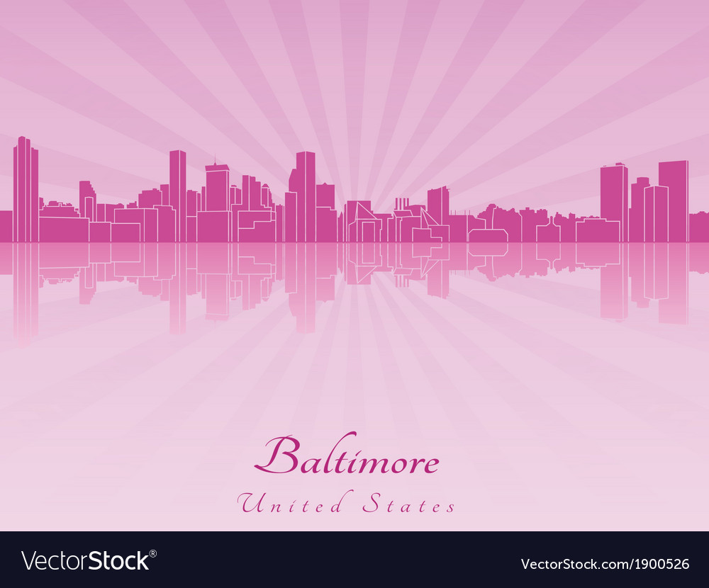 Baltimore skyline in purple radiant orchid vector | Price: 1 Credit (USD $1)