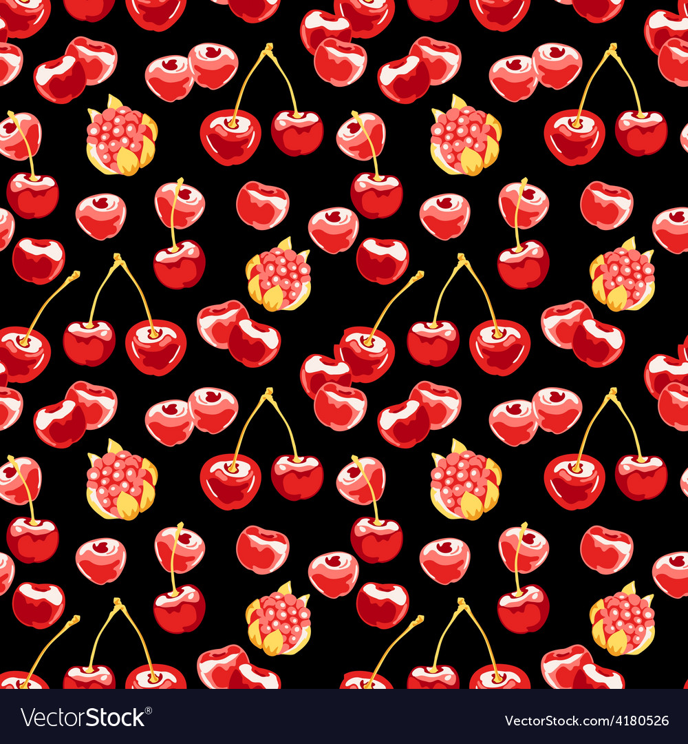 Beautiful seamless pattern with cherries vector | Price: 1 Credit (USD $1)