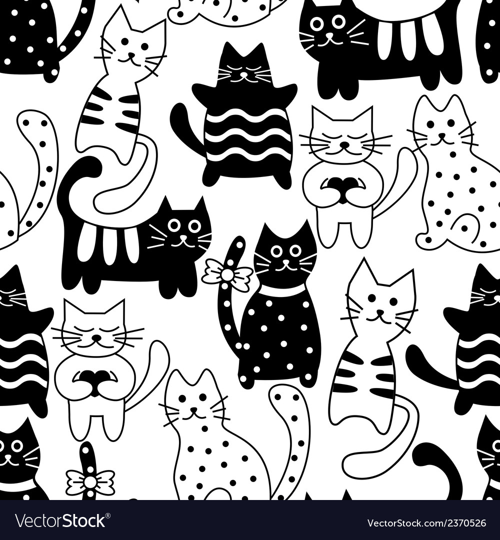 Cartoon seamless bicolor cats vector | Price: 1 Credit (USD $1)