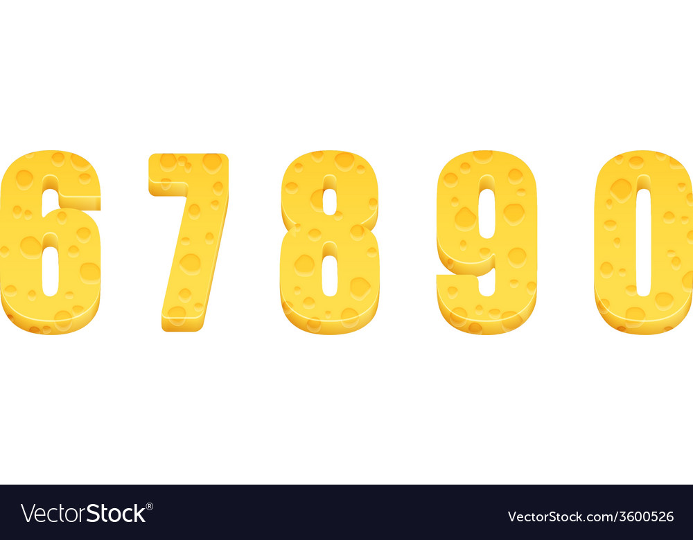 Cheese alphabet set numbers 6-0 vector | Price: 1 Credit (USD $1)