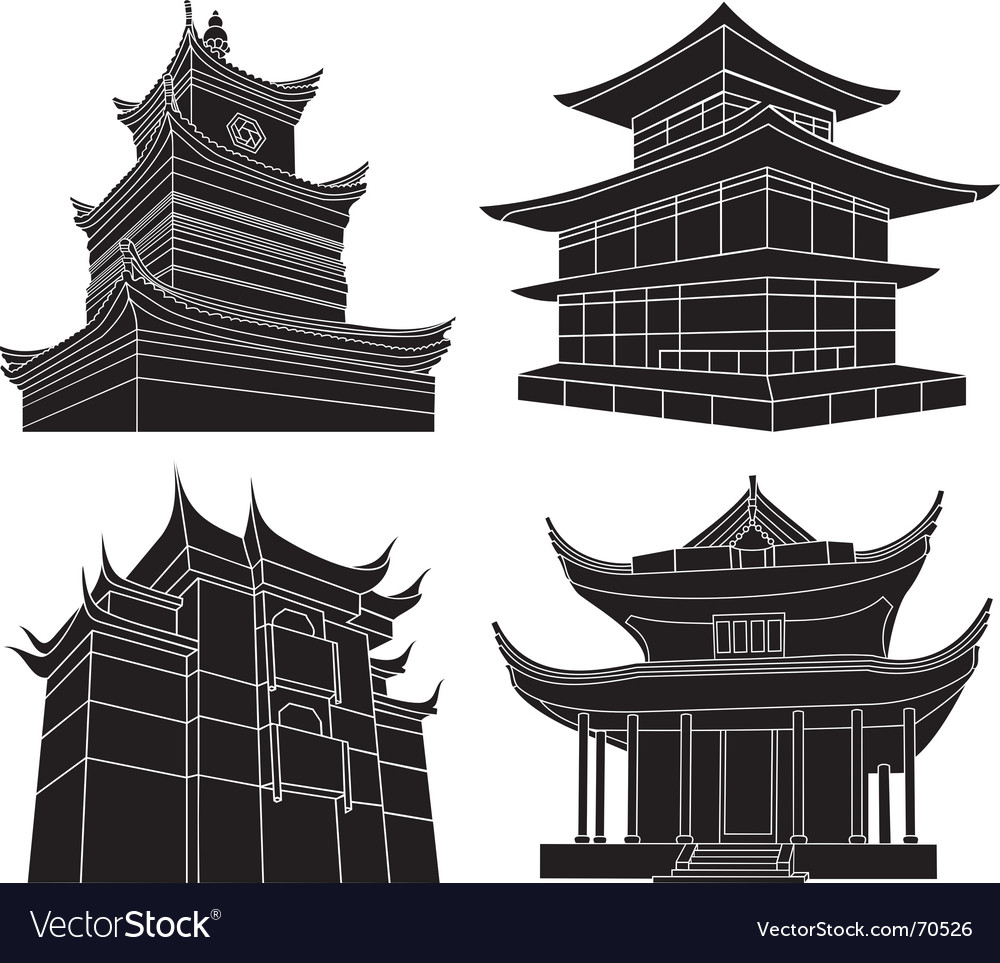 Chinese pagoda silhouettes vector | Price: 1 Credit (USD $1)