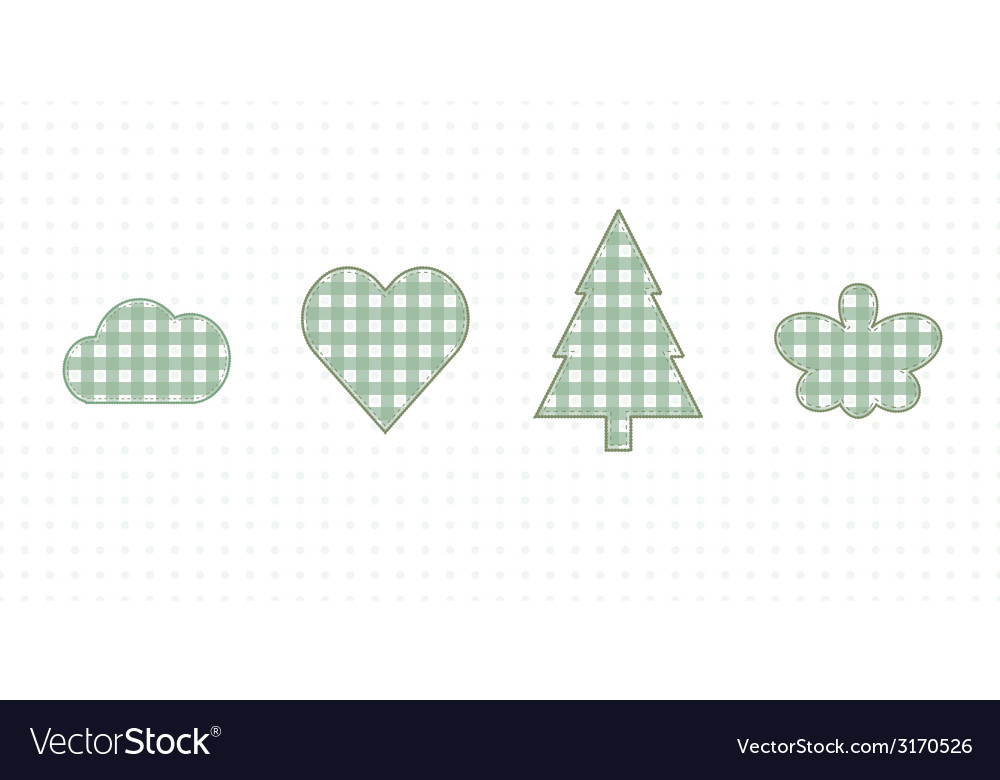 Cloud heart spruce butterfly cute baby style vector | Price: 1 Credit (USD $1)