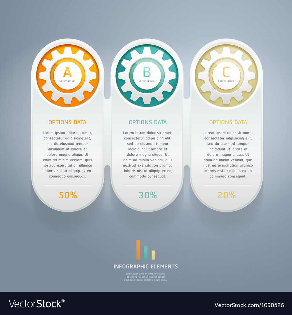 Color gears infographic number options vector | Price: 1 Credit (USD $1)