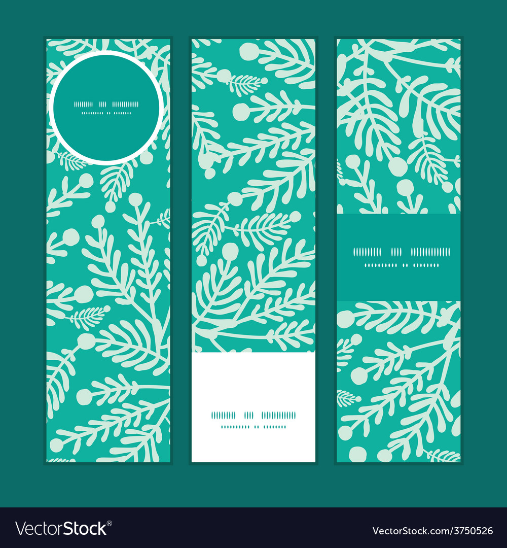Emerald green plants vertical banners set vector | Price: 1 Credit (USD $1)