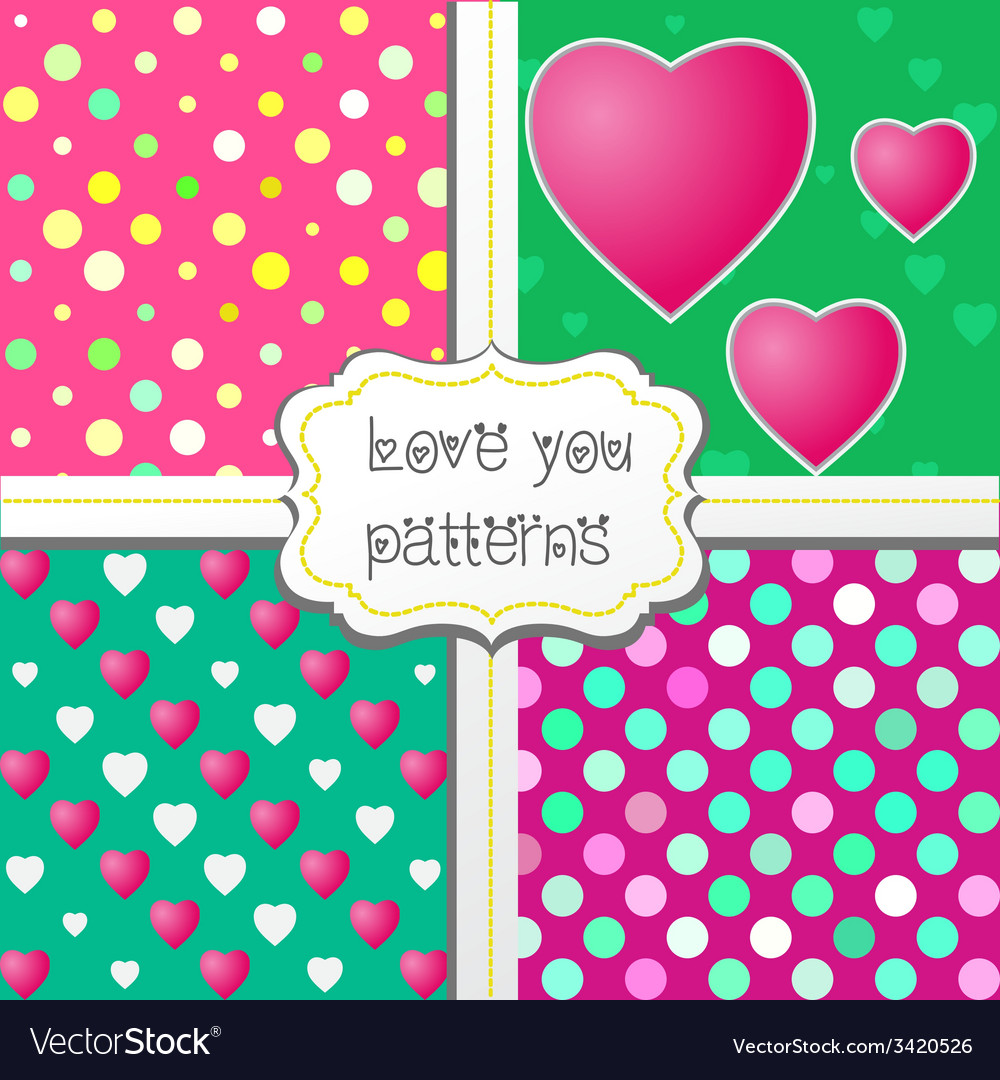 Love you patterns vector | Price: 1 Credit (USD $1)