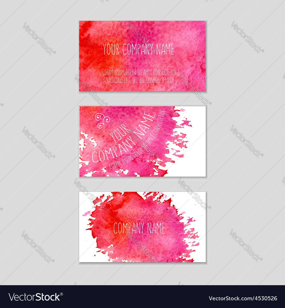 Set of business cards with watercolor background vector | Price: 1 Credit (USD $1)
