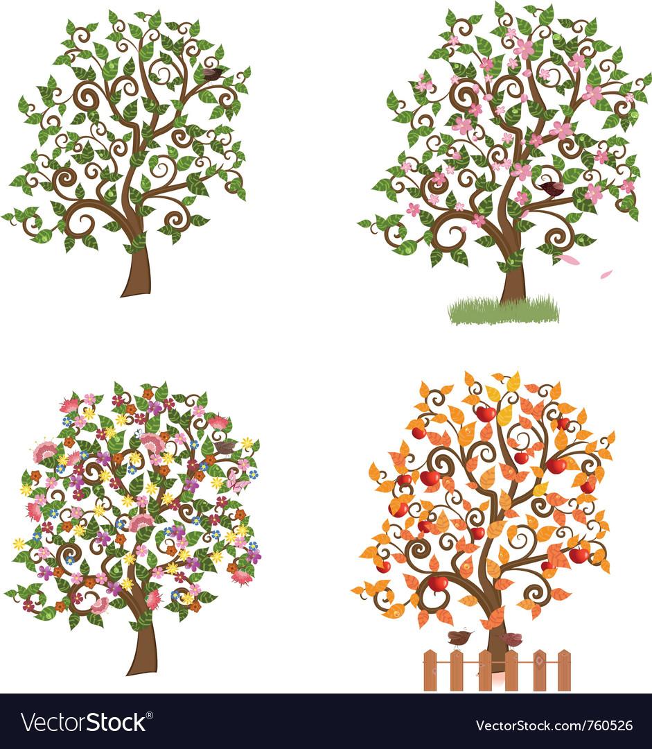 Set of decorative trees seasons vector   Price: 1 Credit (USD $1)