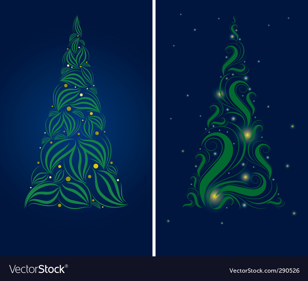 Two christmas tree backgrounds vector | Price: 1 Credit (USD $1)