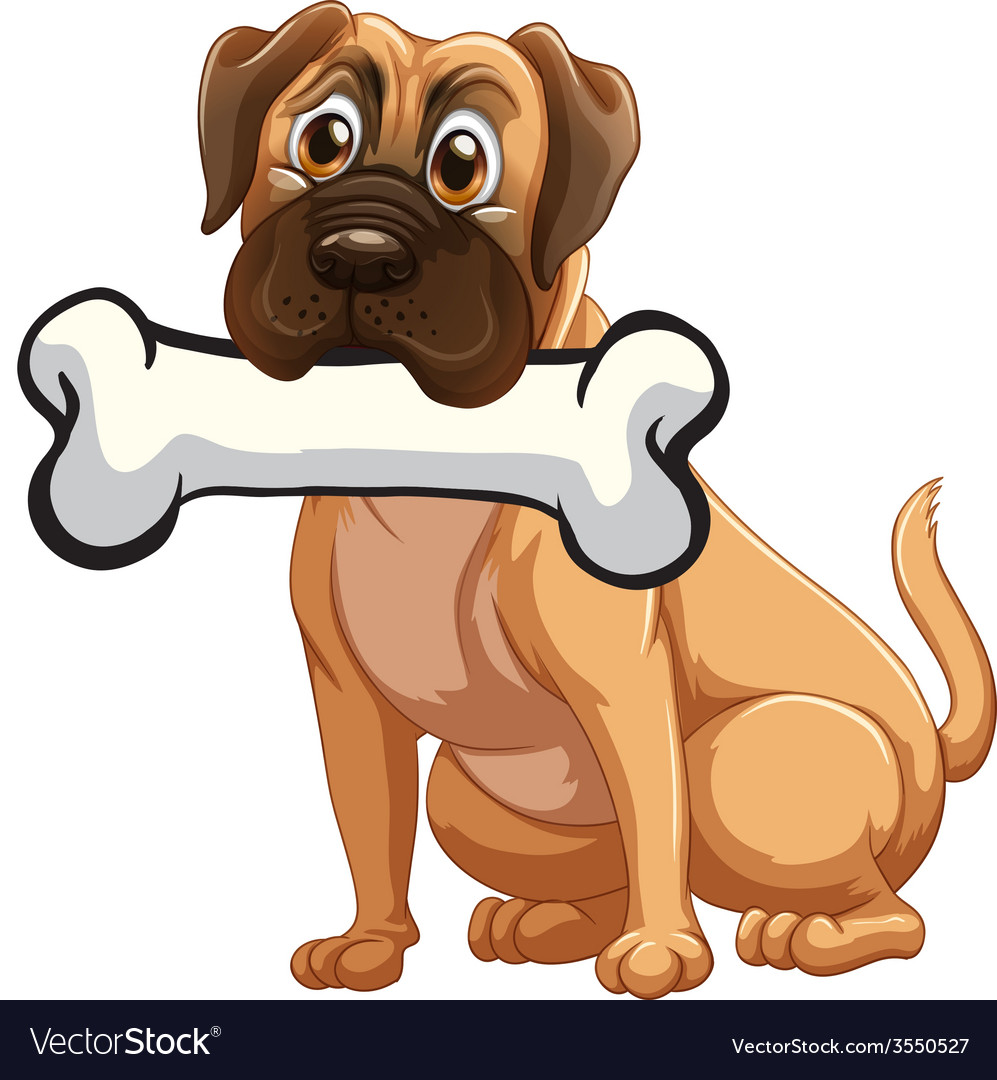 A dog with a bone vector | Price: 1 Credit (USD $1)