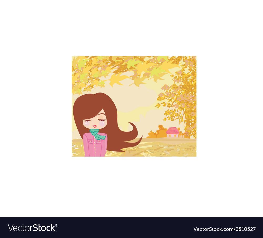 Beautiful girl in autumn vector   Price: 1 Credit (USD $1)