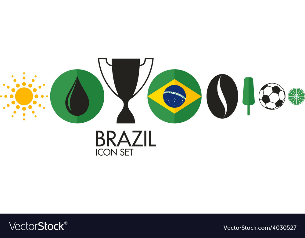 Brazil icon set vector | Price: 1 Credit (USD $1)