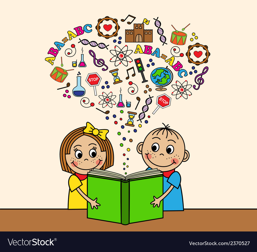 Cartoon children read a book vector | Price: 1 Credit (USD $1)