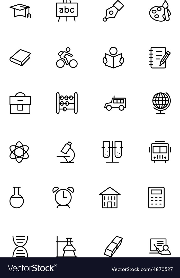 Education line icons 1 vector