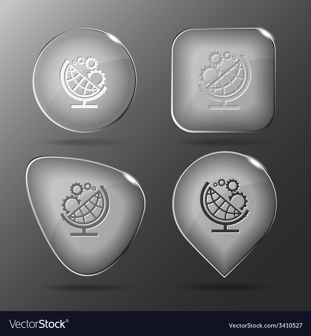 Globe and gears glass buttons vector | Price: 1 Credit (USD $1)