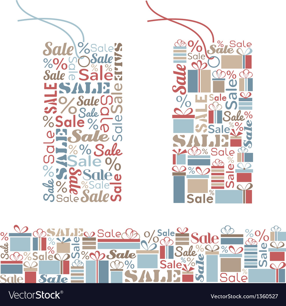 Set of decorative tags and seamless border vector | Price: 1 Credit (USD $1)