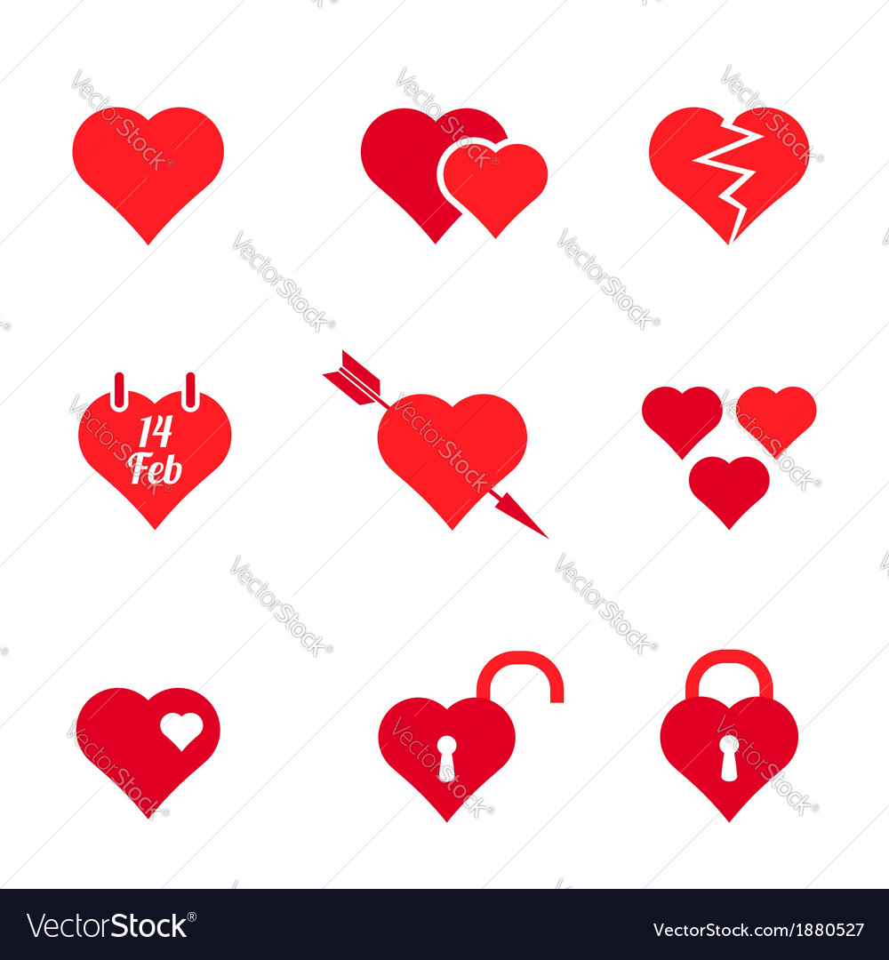 Set of red heart icons vector | Price: 1 Credit (USD $1)