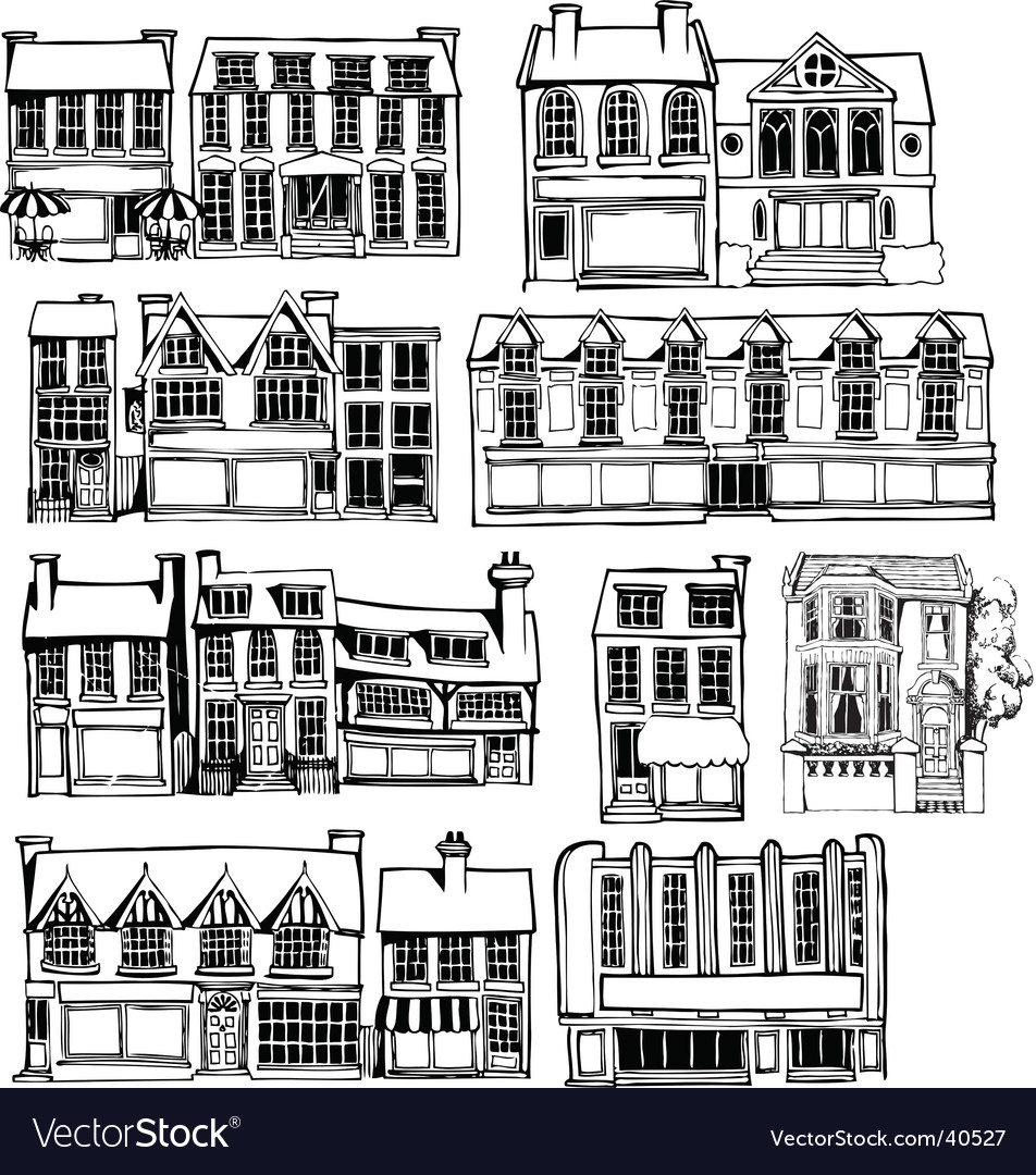 Town buildings vector | Price: 1 Credit (USD $1)