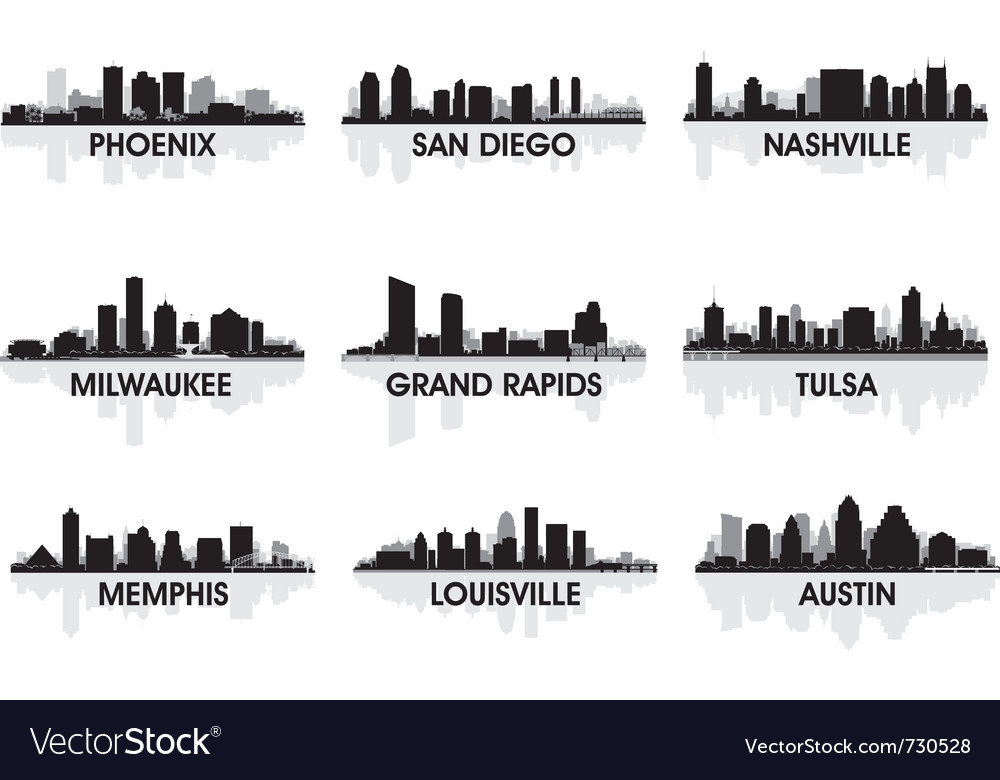 American cities skyline set vector