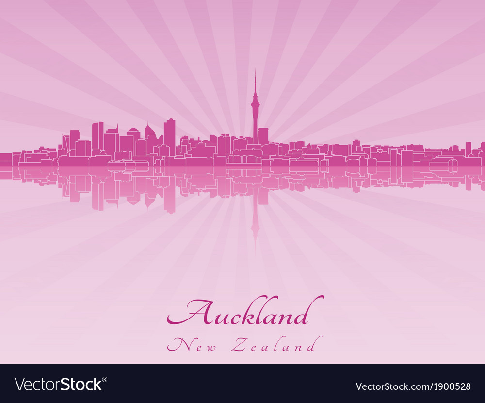 Auckland skyline in purple radiant orchid vector | Price: 1 Credit (USD $1)