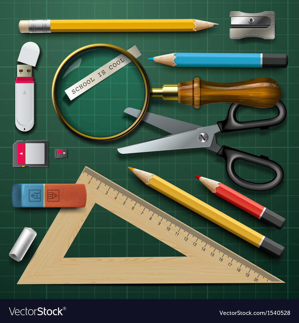 Colorful school supplies vector | Price: 1 Credit (USD $1)