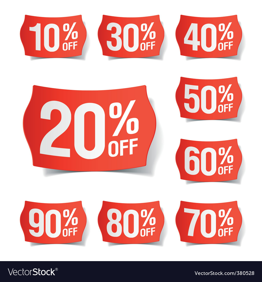 Discount price tags vector | Price: 3 Credit (USD $3)