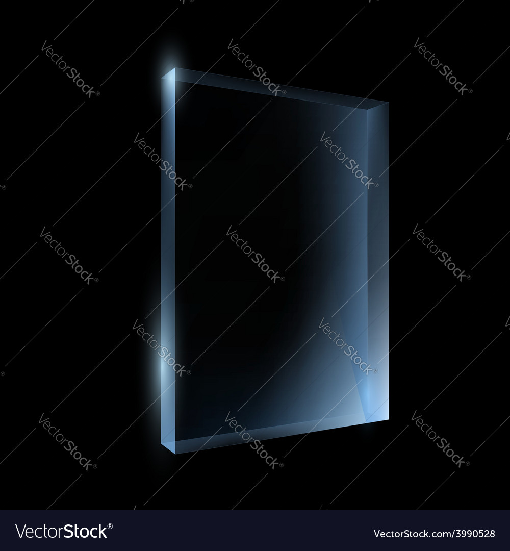 Empty glass box isolated on a black background vector | Price: 1 Credit (USD $1)