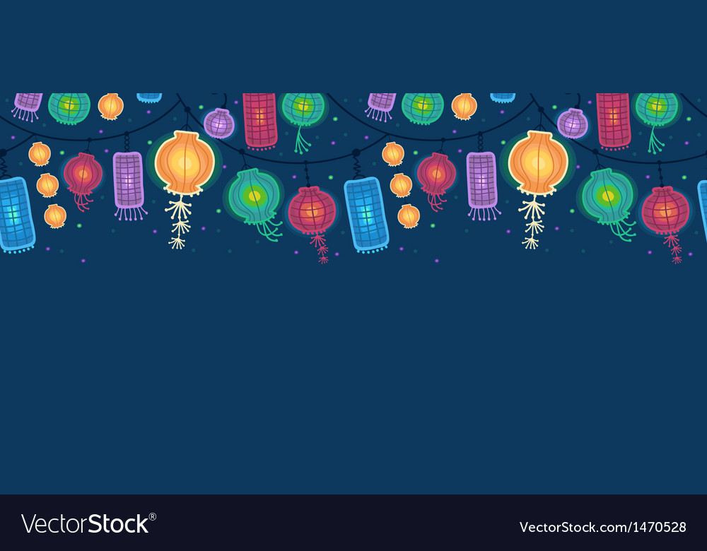Glowing lanterns horizontal seamless pattern vector | Price: 1 Credit (USD $1)