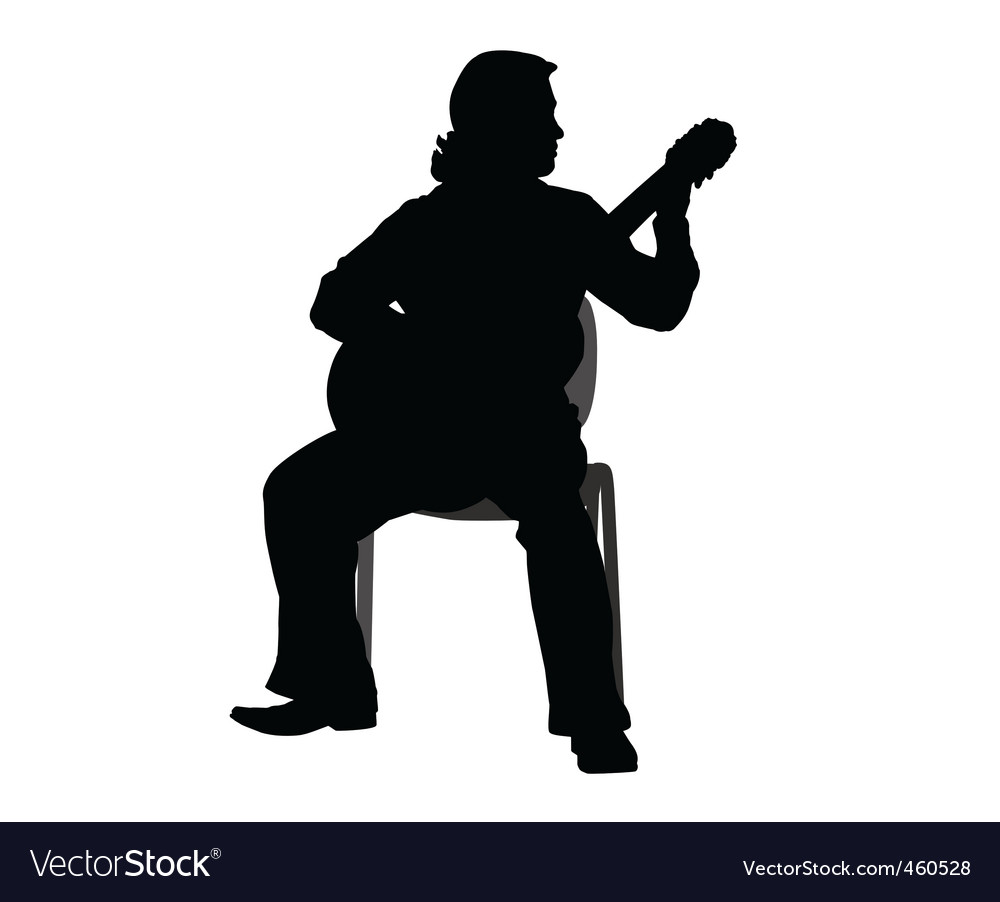 Guitar player silhouette vector | Price: 1 Credit (USD $1)