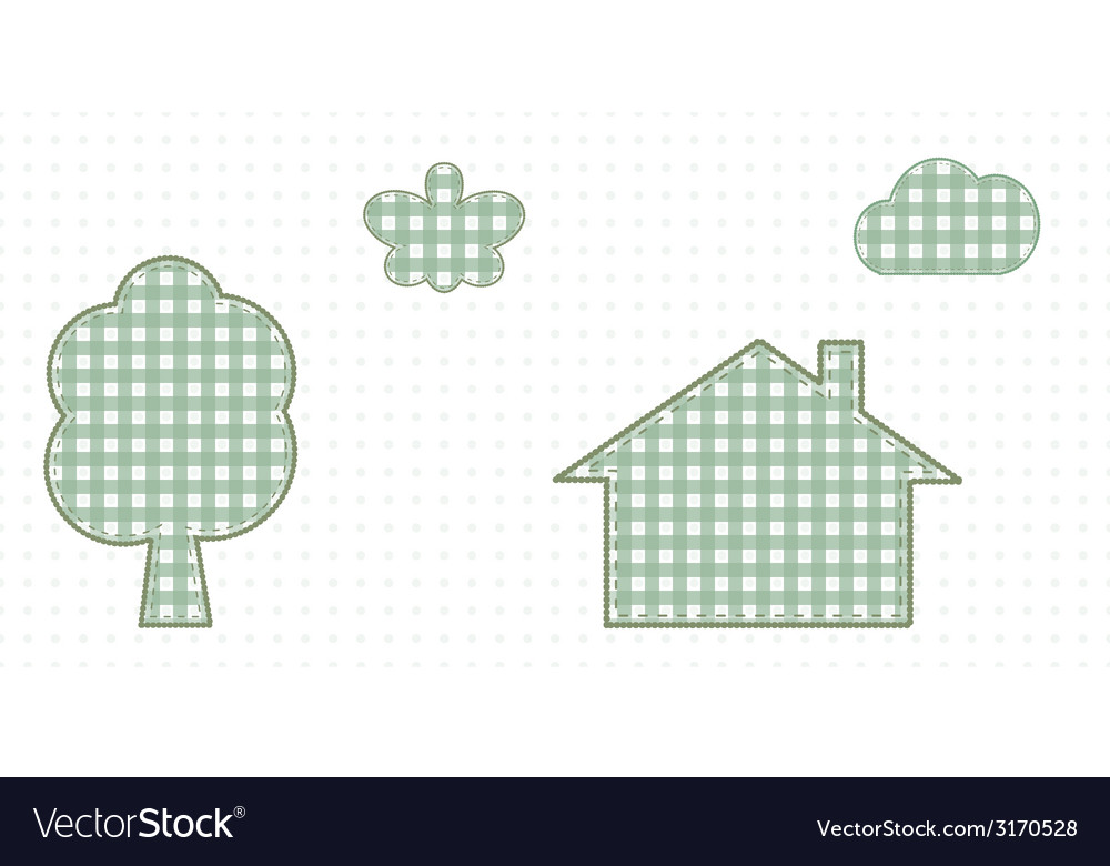 House in nature butterfly tree and cloud cute baby vector   Price: 1 Credit (USD $1)
