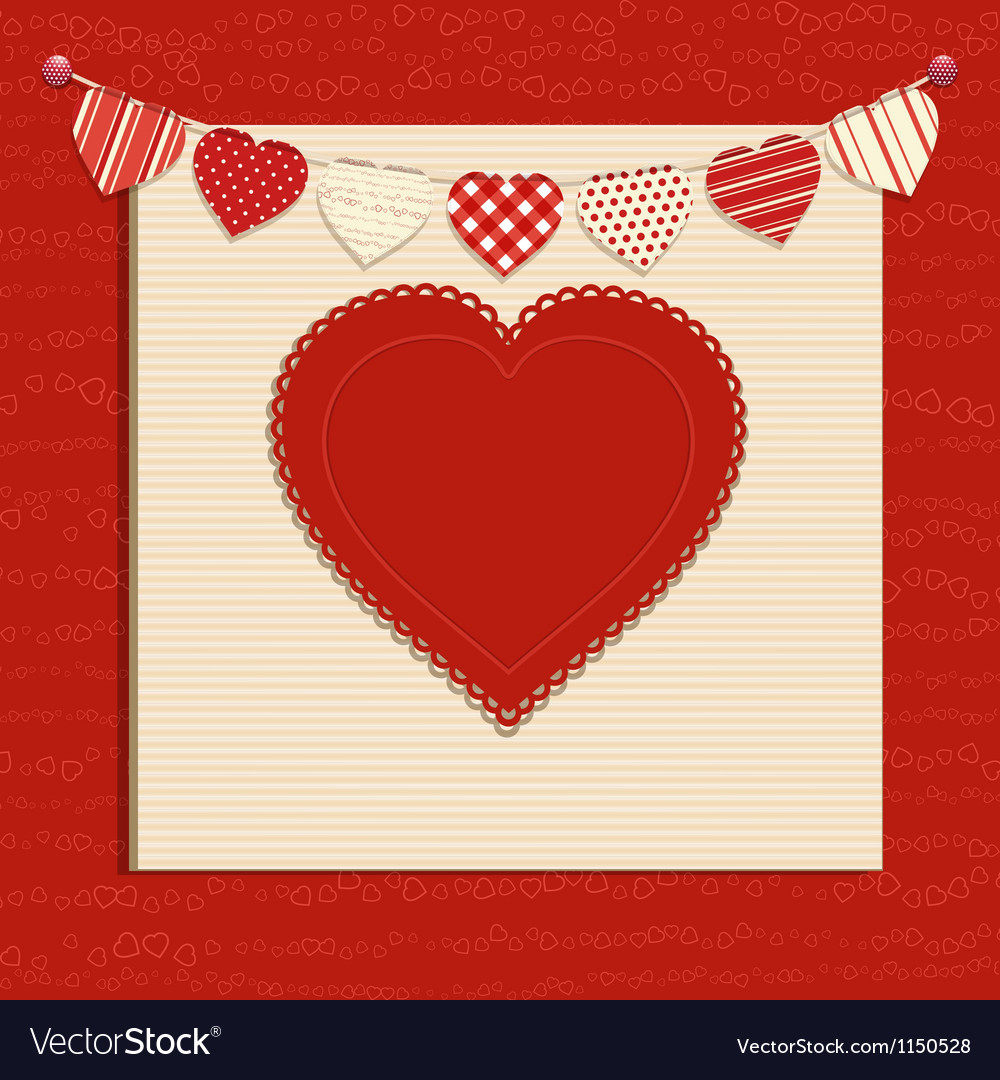 Love heart and bunting background on red vector | Price: 1 Credit (USD $1)