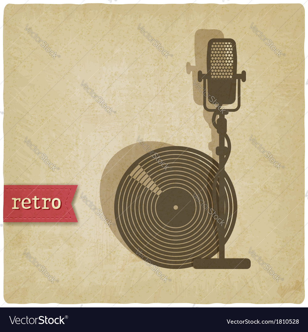 Old background with microphone and record vector | Price: 1 Credit (USD $1)