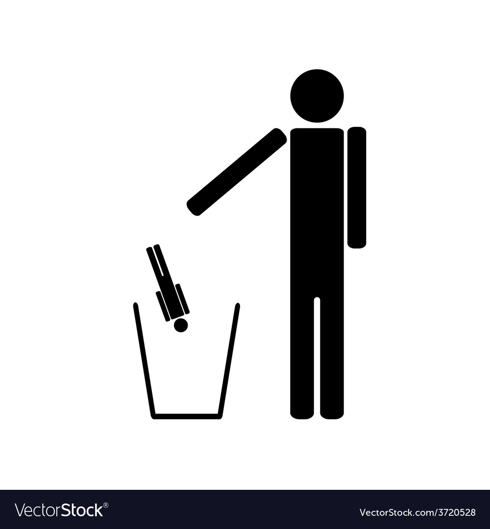 The person throws out in a recycle bin of the man vector | Price: 1 Credit (USD $1)