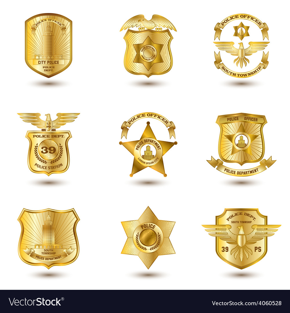 Police badges gold vector | Price: 1 Credit (USD $1)