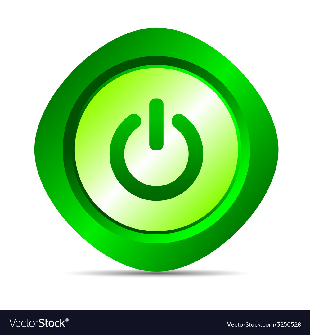 Power button in green color vector | Price: 1 Credit (USD $1)
