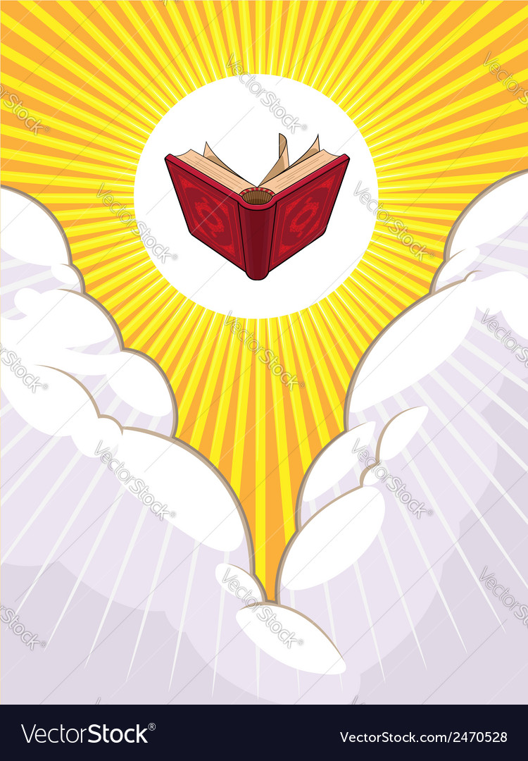 Shining holy book beyond the clouds vector | Price: 1 Credit (USD $1)