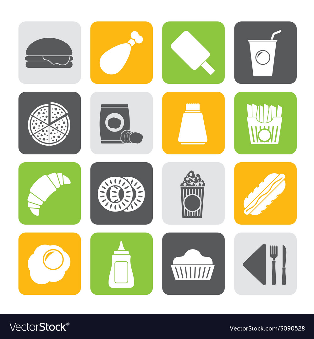 Silhouette fast food and drink icons vector | Price: 1 Credit (USD $1)