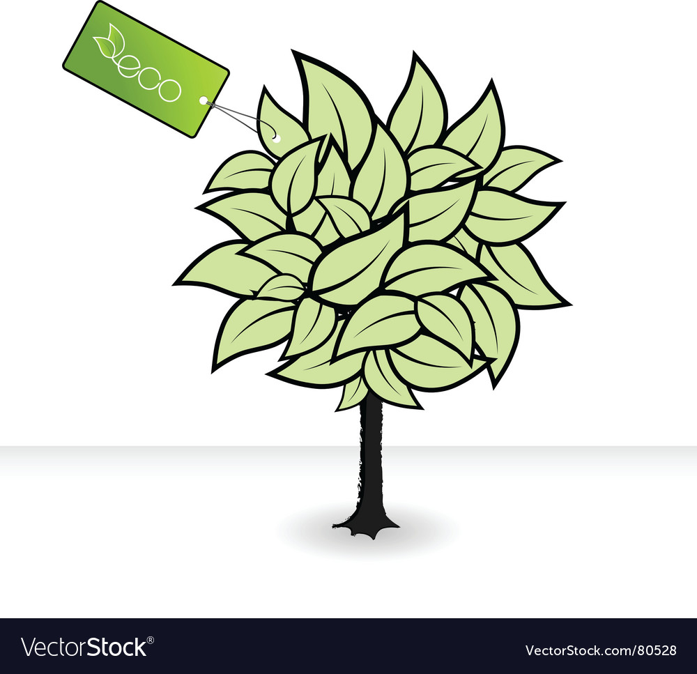 Tree with eco tag vector | Price: 1 Credit (USD $1)