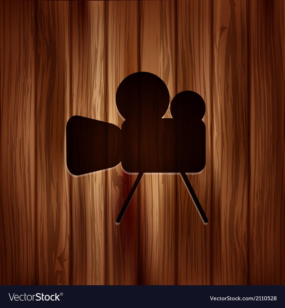 Video camera icon media symbol wooden texture vector | Price: 1 Credit (USD $1)